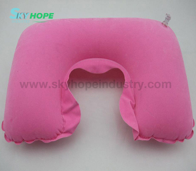 Inflatable U Shape PVC Flocked Velvet Neck Pillow/Travel Pillow